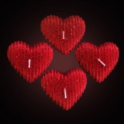 Red Glitter Heart Floating Candles (4 Pack)