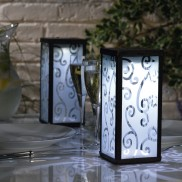 Solar Frosted Scroll Lanterns (Twin Pack)