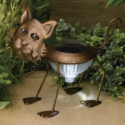 Solar Garden Metal Cat